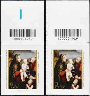 2019 - Natale religioso - coppia di francobolli con codice a barre n° 1989 in ALTO destra-sinistra