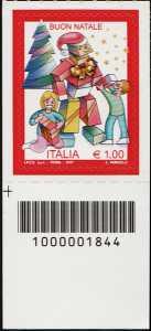 Natale laico - francobollo con codice a barre n° 1844