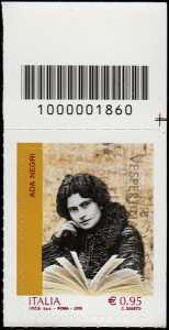 Eccellenze del sapere -  Ada Negri - francobollo con codice a barre n° 1860