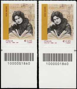 Eccellenze del sapere -  Ada Negri - coppia di francobolli con codici a barre n° 1860 in BASSO destra-sinistra
