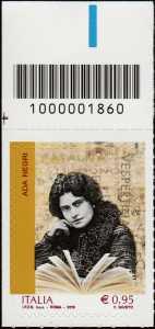 Eccellenze del sapere -  Ada Negri - francobollo con codice a barre n° 1860 in ALTO a sinistra