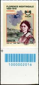 Professione infermieristica - Florence Nightingale - Bicentenario della nascita - francobollo con codice a barre n° 2016 in BASSO a sinistra