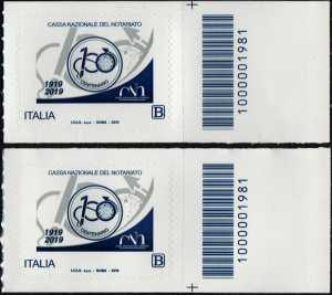 Cassa Nazionale del Notariato - Centenario della costituzione - coppia di francobolli con codice a barre n° 1981 a DESTRA alto-basso
