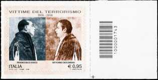 Vittorio Occorsio e Francesco Coco, vittime del terrorismo - francobollo con codice a barre n° 1743
