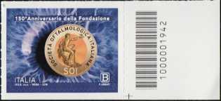 Società Oftalmologica Italiana - 150° Anniversario della fondazione - francobollo con codice a barre n° 1942 a DESTRA in basso
