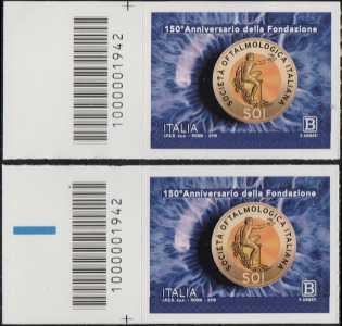 ietà Oftalmologica Italiana - 150° Anniversario della fondazione - coppia di francobolli con codice a barre n° 1942 a SINISTRA alto-basso