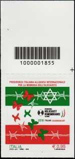 Il senso civico - Presidenza Italiana dell'Alleanza Internazionale per la Memoria dell'Olocausto - francobollo con codice a barre n° 1855