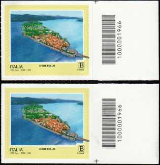 Turistica - 46ª serie  - Patrimonio naturale e paesaggistico : Orbetello ( GR ) - coppia di francobolli  con codice a barre n° 1966 a DESTRA alto-basso