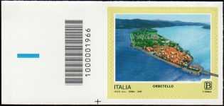 Turistica - 46ª serie  - Patrimonio naturale e paesaggistico : Orbetello ( GR ) - francobollo  con codice a barre n° 1966 a SINISTRA in basso