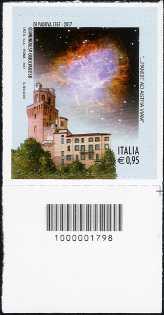 250° Anniversario della fondazione dell'Osservatorio Astronomico di Padova  - francobollo con codice a barre n° 1798