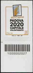 Padova Capitale Europea del Volontariato 2020 - francobollo con codice a barre n° 2027 in BASSO a sinistra