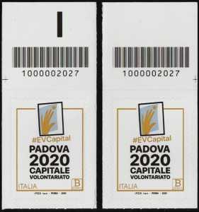 Padova Capitale Europea del Volontariato 2020 - coppia di francobolli con codice a barre n° 2027 in ALTO destra-sinistra