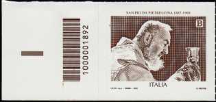 San Pio da Pietrelcina - 50° Anniversario della scomparsa - francobollo con codice a barre n° 1892 A SINISTRA in basso