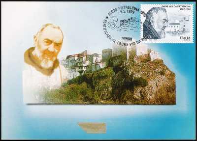 Beatificazione di Padre Pio da Pietrelcina - Cartolina di Pietrelcina con annullo giorno di emissione