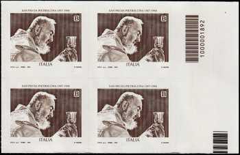 San Pio da Pietrelcina - 50° Anniversario della scomparsa - quartina con codice a barre n° 1892