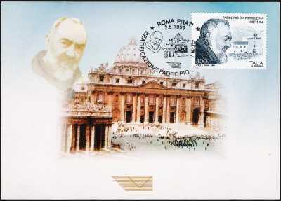 Beatificazione di Padre Pio da Pietrelcina - Cartolina della Basilica di San Pietro con annullo giorno di emissione