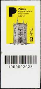 Parma - Capitale italiana della Cultura 2020 - francobollo con codice a barre n° 2026 in BASSO a sinistra
