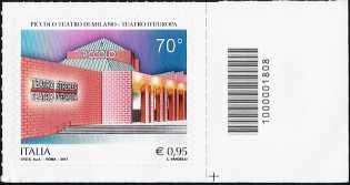 Piccolo Teatro di Milano - Teatro d'Europa - francobollo con codice a barre n° 1808