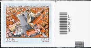 Pistoia Capitale Italiana della Cultura 2017 - francobollo con codice a barre n° 1807