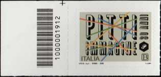 Eccellenze del sistema produttivo ed economico  - Pitti Immagine - 30° Anniversario della fondazione - francobollo con codice a barre n° 1912 a SINISTRA in alto