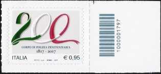 Bicentenario della istituzione del Corpo di Polizia Penitenziaria - francobollo con codice a barre n° 1797