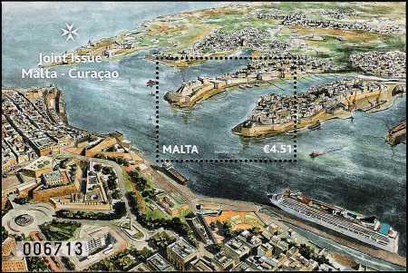 Malta 2013 - Il grande porto naturale - Foglietto - Emissione congiunta con Curacao