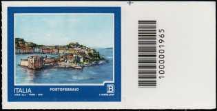 Turistica - 46ª serie  - Patrimonio naturale e paesaggistico : Portoferraio  ( LI ) -  francobollo con codice a barre n° 1965 a DESTRA in alto
