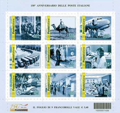 Italia 2012 -150º anniversario delle poste italiane