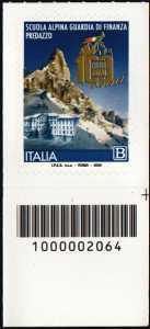 Scuola Alpina della Guardia di Finanza di Predazzo - Centenario della istituzione - francobollo con codice a barre n° 2064 in BASSO a destra