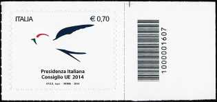 2014 - Presidenza Italiana del Consiglio dell'Unione Europea - codice a barre n° 1607