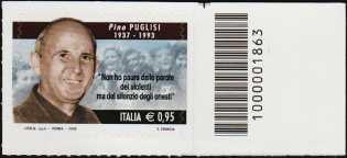 Il senso civico - Lotta alla mafia : Pino Puglisi - francobollo con codice a barre n° 1863 a DESTRA in alto