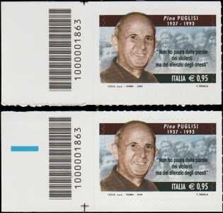 Il senso civico - Lotta alla mafia : Pino Puglisi - coppia di francobolli con codici a barre n° 1863 a SINISTRA basso-alto