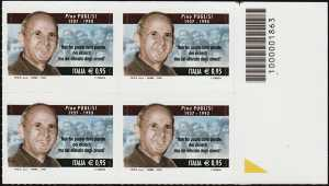 Il senso civico - Lotta alla mafia : Pino Puglisi - quartina con codice a barre n° 1863