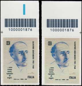 Cinquantenario della scomparsa di Salvatore Quasimodo - coppia di francobolli con codice a barre 1876 in ALTO a sinistra-destra