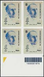 Patrimonio artistico e culturale italiano :  Cinquantenario della scomparsa di Salvatore Quasimodo - quartina con codice a barre 1876