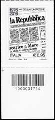40° Anniversario della fondazione del quotidiano « La Repubblica » - francobollo con codice a barre n° 1714