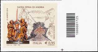La Sacra Spina di Andria - francobollo con codice a barre n° 1725