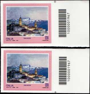 Turistica - 46ª serie  - Patrimonio naturale e paesaggistico : Saluzzo ( CN ) - coppia di francobolli con codice a barre n° 1967 a  DESTRA  alto-basso