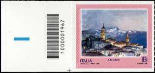 Turistica - 46ª serie  - Patrimonio naturale e paesaggistico : Saluzzo ( CN ) - francobollo con codice a barre n° 1967 a  SINISTRA  in  basso