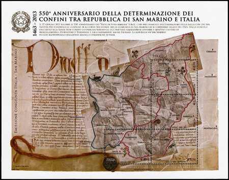 550° Anniversario della determinazione dei confini tra Repubblica di San Marino ed Italia  -  emissione congiunta con San Marino