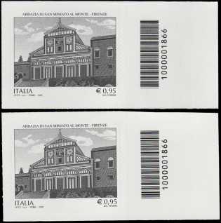 Patrimonio artistico e culturale italiano :  Abbazia di San Miniato al Monte in Firenze - Millenario della fondazione - francobollo con codice a barre n° 1866 a DESTRA alto-basso
