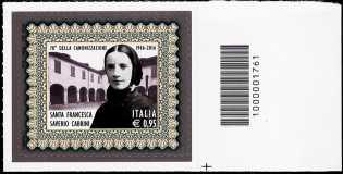 0° Anniversario della canonizzazione di Santa Francesca Saverio Cabrini - francobollo con codice a barre n° 1761