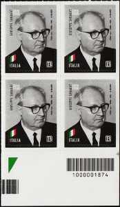 Presidenti della Repubblica : Giuseppe Saragat - 30° Anniversario della scomparsa - quartina con codice a barre n° 1874