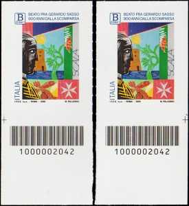 Beato  Gerardo Sasso -  9° Centenario della scomparsa - tariffa B zona 1 - coppia di francobolli con codice a barre n° 2042  in BASSO destra-sinistra
