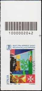 Beato  Gerardo Sasso -  9° Centenario della scomparsa - tariffa B zona 1 - francobollo con codice a barre n° 2042 in ALTO a destra