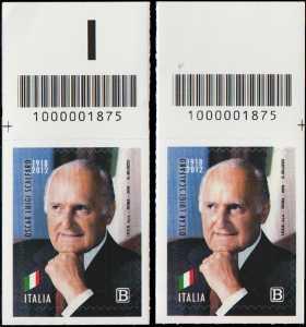 Presidenti della Repubblica : Oscar Luigi Scalfaro - Centenario della nascita - coppia di francobolli con codice a barre n° 1875 in ALTO destra-sinistra