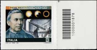 Bicentenario della nascita di Padre Angelo Secchi - francobollo con codice a barre n° 1878