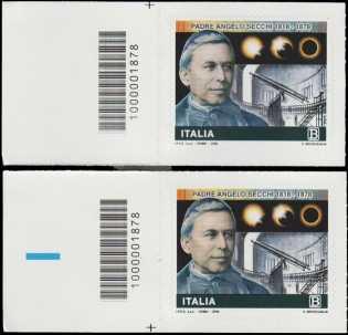 Bicentenario della nascita di Padre Angelo Secchi - coppia di francobolli con codice a barre n° 1878 a SINISTRA alto-basso