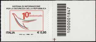 Il senso civico - 10° Anniversario della istituzione del Sistema di informazione per la sicurezza della Repubblica - francobollo con codice a barre n° 1847