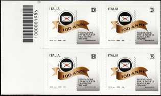 Federazione fra le Società Filateliche Italiane - Centenario della costituzione - quartina con codice a barre n° 1986